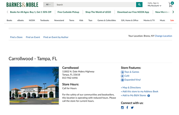 b&n local page example