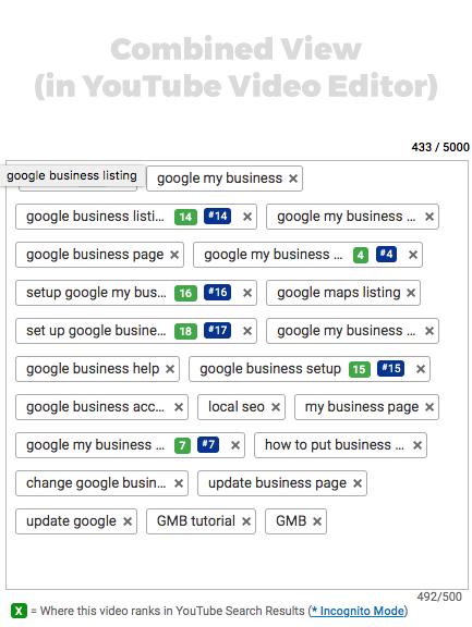 VidIQ and TubeBuddy keyword tools within the YouTube video editor.