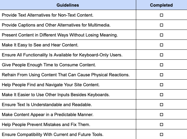 web accessibility guidelines checklist