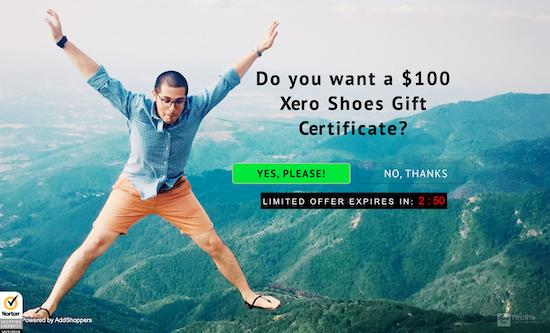 xero-shoes-exit-intent-pop-up