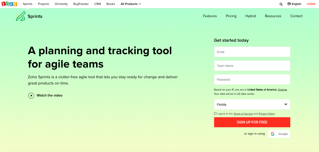 zoho-sprints-homepage