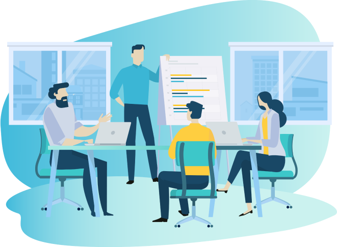 illustration--team-in-meeting